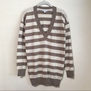 Gap Cashmere V-Neck Stripe Knit Tunic Sweater
